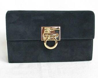 Vintage 1970s FERRAGAMO Black Suede Clutch with Chain Strap
