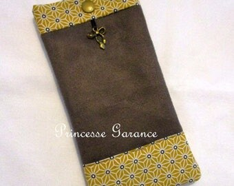 Suede eyeglass or Sunglass case and cotton yellow saki - in stock