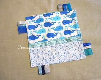Doudou cotton whale - white polka dot minkee labels Blues - in stock