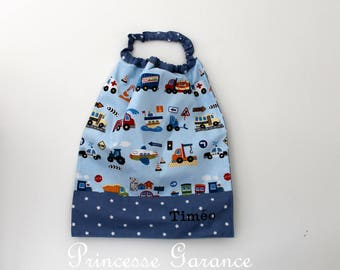 Canteen birthday * bib, napkin, canteen, with elastic at the neck, cotton vehicles to order