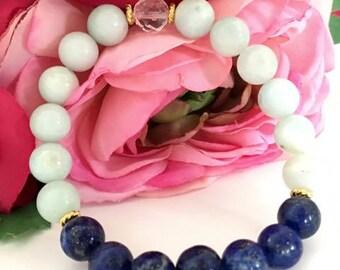 Lapis Lazuli Amazonite Crystal Quartz Bracelet,Healing Bracelet, Gift for Her, Gemstone Bracelet, Wellness Bracelet, Quartz Crystal Bracelet