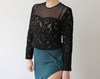 SALE Vintage Black Lace Long Sleeve Top   Bustier Style   Grunge Top   Lace Blouse   90s Top   Sheer Lace   Stretchy Long Sleeve Top