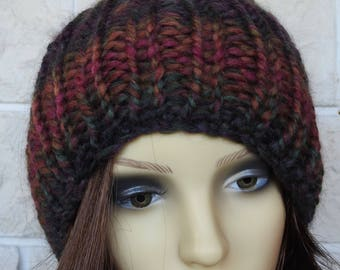 Hand Knitted Women's Dark Multicoloured Ribbed Winter Hat With A Light Brown Pompom - Free Shipping