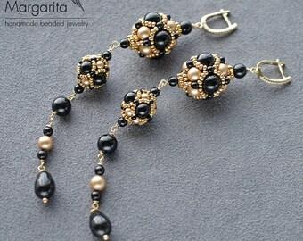 Long earrings beaded earrings with swarovski pearl earrings with seed beads beadwoven earrings black and gold earrings swarovski earrings