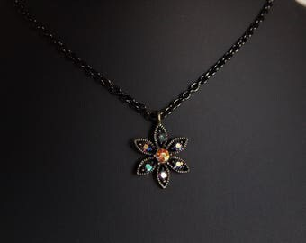 Vintage Rhinestone Flower Pendant Necklace, Delicate Necklace, Flower Necklace