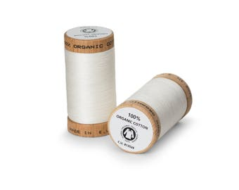 Natural (Off-White) Organic Cotton Thread 300 yards-  Eco-Friendly Thread - 100% Organic Cotton Thread