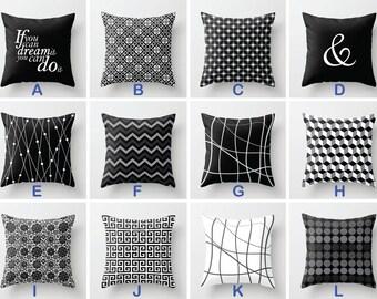 Black White Cushion, Black Throw Pillow Cover, Modern Decorative Pillow, Floral Chevron Geometric, 16x16 18x18 20x20, Sofa Accent Pillow