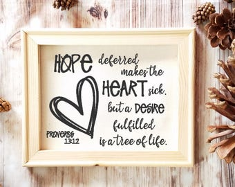 Proverbs 13:12 Verse - Hope deferred makes the heart sick - Christian Gift - Religious Decor - Special Gift - Inspirational Quote - Godly