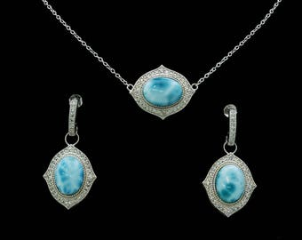 Stunning Larimar Necklace/Earrings Set With White Sapphire .925 Sterling Silver