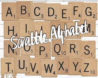 SCRABBLE Wood Alphabet, Printable pdf, Scrabble Tiles, Scrabble Game Pieces, Scrabble Tile Guide, Digital Alphabet, INSTANT DOWNLOAD