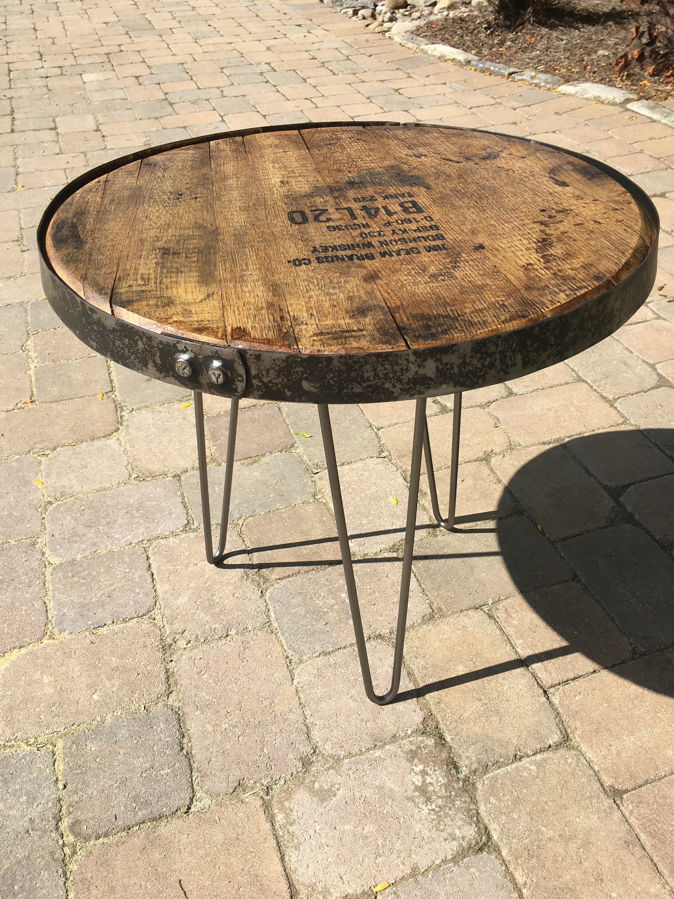 Bourbon barrel lid industrial table with hairpin legs and bourbon