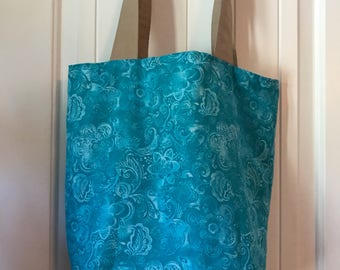 Blue & Tan Tote Bag