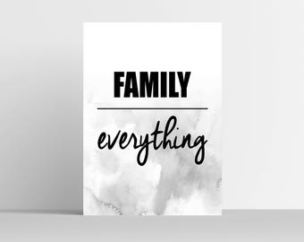 Family Over Everything Art Print - Home Decor - Home Art Print - Typography