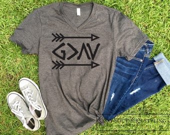God is Greater Than the Highs and Lows -- Symbolic Graphic Statement Tee -- Religious Christian Cute T-Shirt