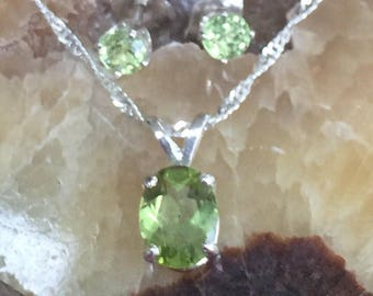 Peridot necklace and earrings in sterling.