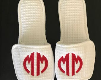 Monogrammed Slippers/ Waffle Slippers/ Monogrammed Spa Shoes/ Cotton Slippers