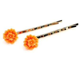 Orange Flower Bobby Pins - Orange Bobby Pins - Orange Accessories - Embellished Bobby Pins - Bridal Bobby Pins - Orange Wedding
