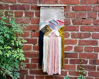 Pastels, Navy, and Gold Abstract Weaving / Gold Woven Wall Hanging