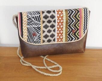 Brown/copper/gold/beige ethnic hand bag or shoulder bag