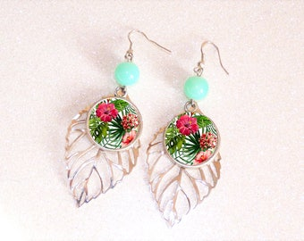 Earrings ' leaf 925 Sterling Silver earrings with cabochon Green/Pink tropical flowers