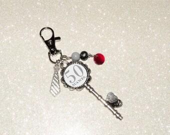 Jewelry bag/key theme 50 shades of Grey, silver key metalic beads