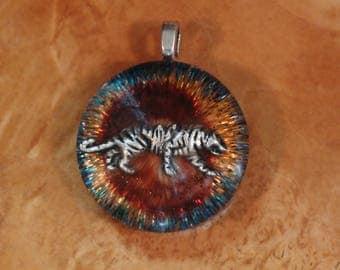 Orgone Energy Sacred Forest Red Tiger Spirit Animal Fresnal Chakra-Tuning 27mm Unisex Pendant Necklace harmonized crystals Moldavite