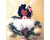Black rag doll fairy, Christmas fairy, christmas tree topper angel, Christmas decorations, doll ornament, cloth doll, personalized doll