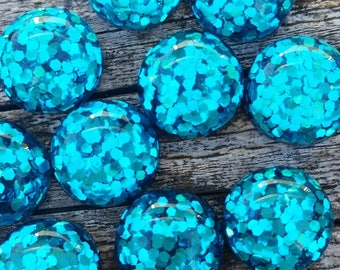 12mm Bright Blue Glitter Cabochon