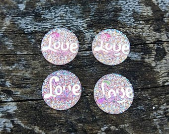 12mm Pink Ab Resin Love Cabochon