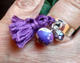 "Christmas gift ""Woman""... Ring adjustable and silver tassel purple N5"