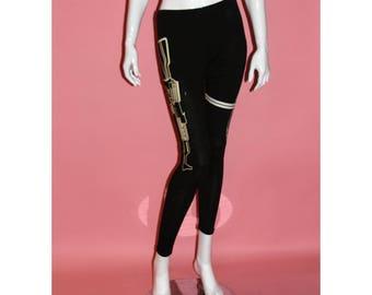 Black Leggings With Machine Guns Screen Print Pants Cotton Spandex Size S M L
