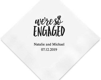 We're So Engaged Engagement Party Napkins (Pack of 100) Personalized Party Napkins