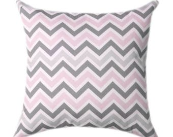 SALE Pink Chevron Throw Pillow Covers - Baby Pink Grey and White Nursery Pillow Cover - Pink and Gray Throw Pillow, Gray Chevron Cushion Cov