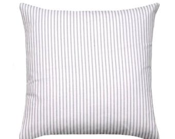SALE Ticking Stripe Pillow Cover in Grey and White, Farmhouse Decorative Pillow, 16 inch, 18 inch, 20 inch, 22 inch or 24 inch
