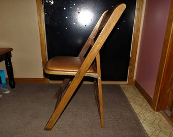 Vintage Wood Folding Chair With Padded Seat