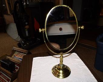Vintage Tabletop Mirror, Swivel Mirror, Vanity Mirror, Magnifying, Oval Mirror, Brass Mirror, Art Nouveau, Mirror, Makeup Mirror, Antique