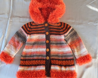 knitted coat lisa child 3 years old, hand knitted