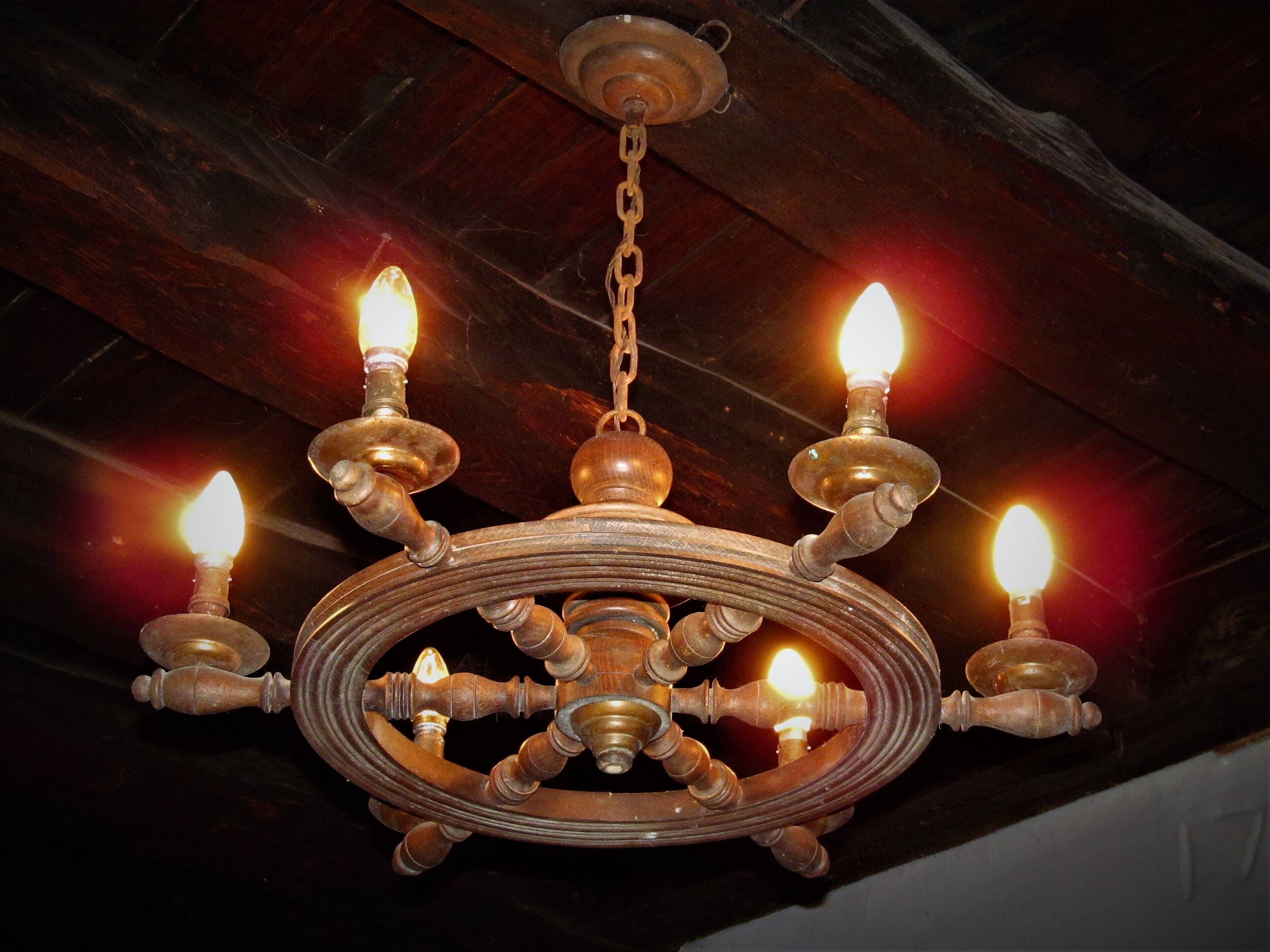 Fabulous antique ships wheel 6 branch wooden french chandelier in fabulous antique ships wheel 6 branch wooden french chandelier in working condition but may need some tlc mozeypictures Images