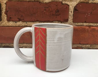 Mug - Brownstone with White Glaze and Red Detail