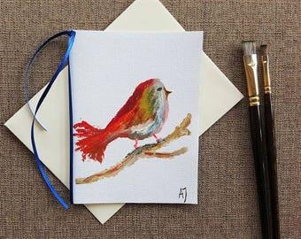 Bird art Original oil painting Retirement card Bird painting Original painting Hand painted greeting card Red bird Thank you card Bird Card