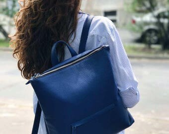 LEATHER BACKPACK, laptop backpack, women backpack, backpack laptop, leather rucksack, blue backpack, large backpack, women rucksack