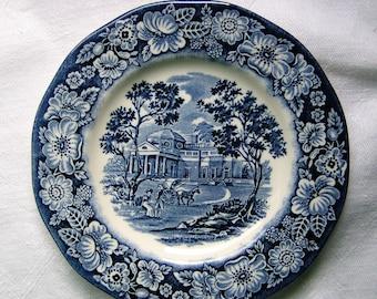 "Staffordshire Ironstone Liberty Blue Bread & Butter Plate ""Monticello"""