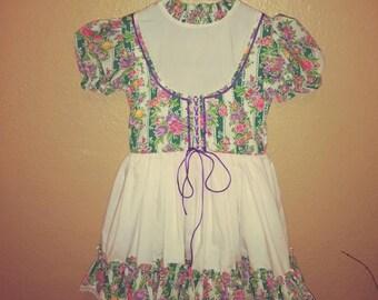 4t vintage girls lace up dress