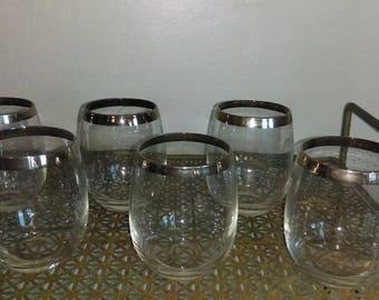 Set of 6 DOROTHY THORPE Silver Rim Heavy Bottom Tumblers Rock Glasses 12 OZ