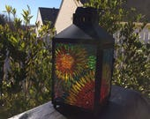 Stained Glass Lantern, mosaic lantern, stained glass light, romantic outdoor lighting, gift for couple, wedding gift, couples shower