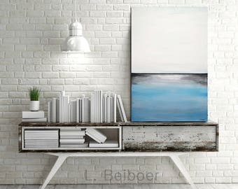 Original Abstract painting 24 x 36 large landscape oil painting blue white seascape contemporary abstract art wall art artwork design