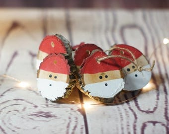 Santa Christmas Ornament Set, Hand Painted Christmas Ornaments, Wood Slice Ornament, Christmas Decorations, Christmas Tree Ornaments, Santa
