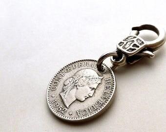 Switzerland, Zipper charm, Coin charm, Purse charm, Handbag charm, Zipper pull, Swiss, Clothing accessory, Coins, Charms, Accessory, 1952