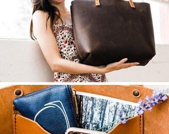 NATURAL CHARACTER Leather Tote Bag • HUGE Sale More than 50% off • Quantities Limited, Don't Delay!