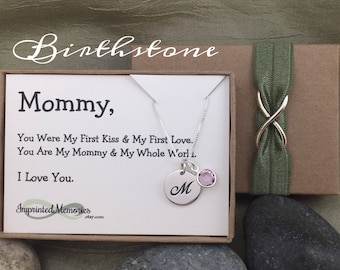 First Birthday New Mom Gift Baby's First Birthday gift for mommy from baby Gifts for Wife - Sterling Silver Birthstone Jewelry 2017 Baby